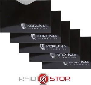 Etui na karty zbliżeniowe - Koruma (poziome, czarne, srebrne logo) zestaw 5szt.