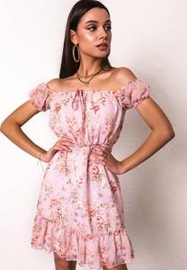 Różowa sukienka Latika mini z krótkim rękawem hiszpanka