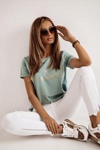 Zielona bluzka Shopaholics Dream z krótkim rękawem z okrągłym dekoltem