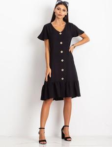 Czarna sukienka Sheandher.pl z krótkim rękawem z dekoltem w kształcie litery v