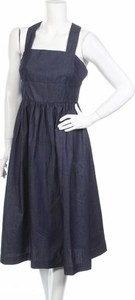 Granatowa sukienka Louche rozkloszowana na ramiączkach