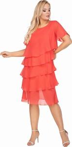 Sukienka La-toya z okrągłym dekoltem z szyfonu midi