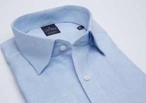 Niebieska koszula Lanieri z kołnierzykiem button down z tkaniny