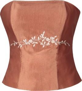 Brązowa bluzka Fokus w stylu glamour bez rękawów