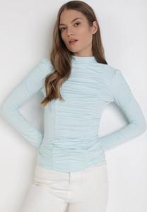 Niebieska bluzka born2be z okrągłym dekoltem w stylu casual z długim rękawem