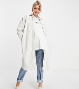 Topshop Maternity – Jeansowa biała koszulowa sukienka oversize-Biały