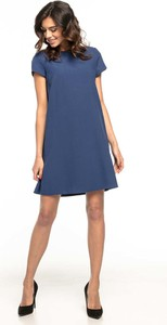 Niebieska sukienka Tessita z krótkim rękawem midi