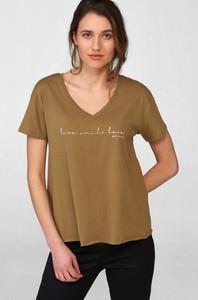 Zielony t-shirt ORSAY z dekoltem w kształcie litery v
