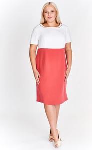 Różowa sukienka Fokus z okrągłym dekoltem z krótkim rękawem dla puszystych