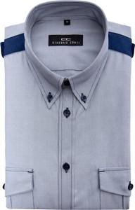 Niebieska koszula Giacomo Conti z kołnierzykiem button down z długim rękawem z bawełny