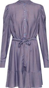 Fioletowa sukienka Custommade w stylu casual z kołnierzykiem koszulowa