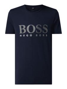 Granatowy t-shirt Boss z krótkim rękawem z bawełny