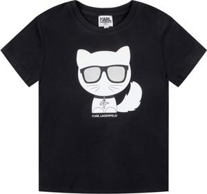 Czarna koszulka dziecięca Karl Lagerfeld z krótkim rękawem