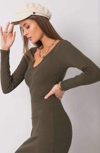 Zielona sukienka Sheandher.pl z bawełny dopasowana w stylu casual