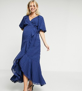 ASOS DESIGN Maternity – Kopertowa sukienka maxi w paski-Granatowy