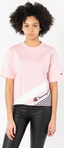 Różowy t-shirt Champion z okrągłym dekoltem w sportowym stylu