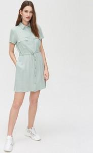 Turkusowa sukienka Cropp w stylu casual szmizjerka
