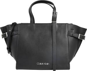 Czarna torebka Calvin Klein ze skóry na ramię duża
