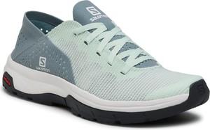 Miętowe buty sportowe Salomon z płaską podeszwą sznurowane