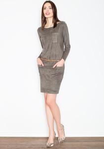 Sukienka Figl ze skóry ekologicznej z długim rękawem w stylu casual