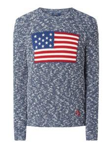 Granatowy sweter POLO RALPH LAUREN z bawełny
