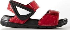 Czerwone buty dziecięce letnie Adidas w paseczki