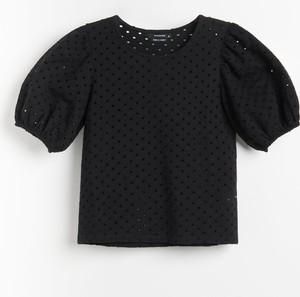 Czarna bluzka Reserved z okrągłym dekoltem z krótkim rękawem w stylu casual