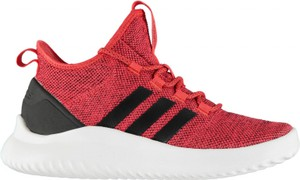 Czerwone buty sportowe Adidas sznurowane w sportowym stylu