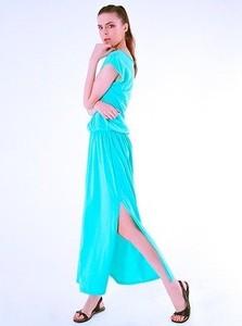 Miętowa sukienka Sthorm z krótkim rękawem w stylu klasycznym maxi