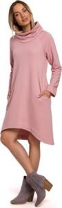 Różowa sukienka MOE z długim rękawem w stylu casual z golfem