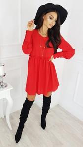 Czerwona sukienka infinityfashion.pl mini w stylu casual oversize