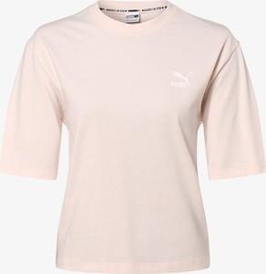 Różowy t-shirt Puma z okrągłym dekoltem z krótkim rękawem
