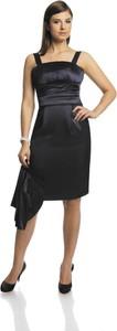 Granatowa sukienka Fokus z krótkim rękawem midi z szyfonu