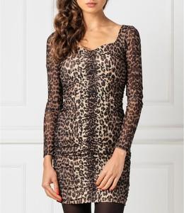 Brązowa sukienka Guess dopasowana z dekoltem w kształcie litery v z długim rękawem