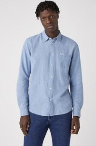 Niebieska koszula Wrangler z długim rękawem w stylu casual z klasycznym kołnierzykiem