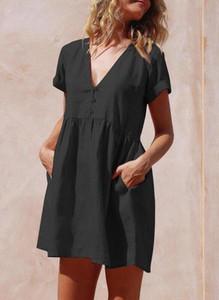 Sukienka Sandbella z krótkim rękawem z dekoltem w kształcie litery v mini