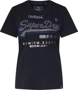 Czarna bluzka Superdry w młodzieżowym stylu