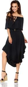 Czarna sukienka Lemoniade z krótkim rękawem midi