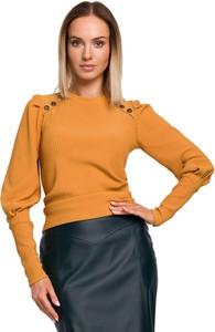 Brązowa bluzka MOE z okrągłym dekoltem z długim rękawem