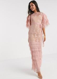 Różowa sukienka Forever U z dekoltem w łódkę