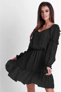 Czarna sukienka Ivon z długim rękawem z szyfonu