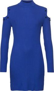 Niebieska sukienka bonprix BODYFLIRT boutique z dzianiny dopasowana z długim rękawem