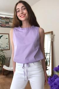 Fioletowa bluzka Trendyol w stylu casual z okrągłym dekoltem