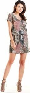 Sukienka Awama z krótkim rękawem mini w stylu casual