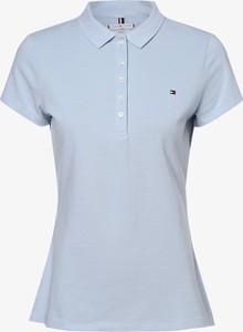 Niebieski t-shirt Tommy Hilfiger z krótkim rękawem z dekoltem w kształcie litery v