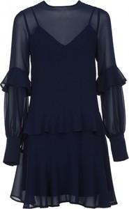 Granatowa sukienka VISSAVI z długim rękawem mini rozkloszowana