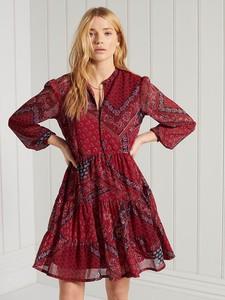 Czerwona sukienka Superdry z dekoltem w kształcie litery v