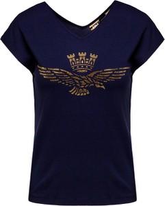 T-shirt Aeronautica Militare w militarnym stylu z krótkim rękawem z okrągłym dekoltem