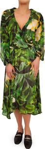 Zielona sukienka Liu-Jo midi z długim rękawem z dekoltem w kształcie litery v