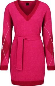 Różowa sukienka Pinko z dekoltem w kształcie litery v z długim rękawem mini